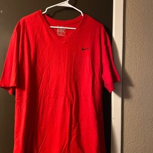 Nike Red V-Neck Athletic Cut Tee T-Shirt Mens XXL
